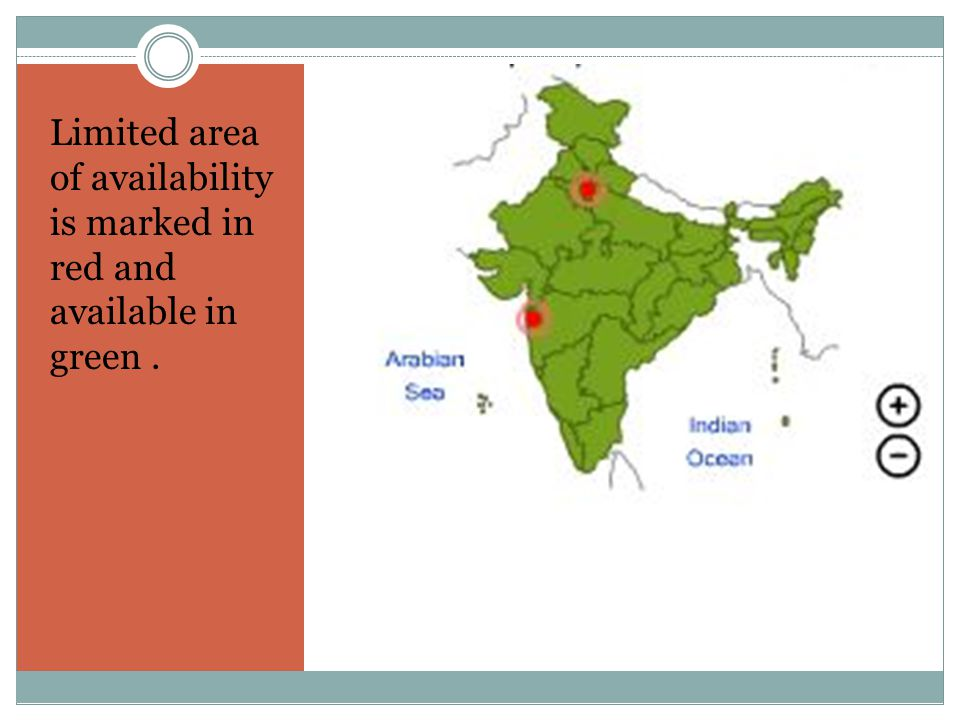 Limited area of availability is marked in red and available in green.