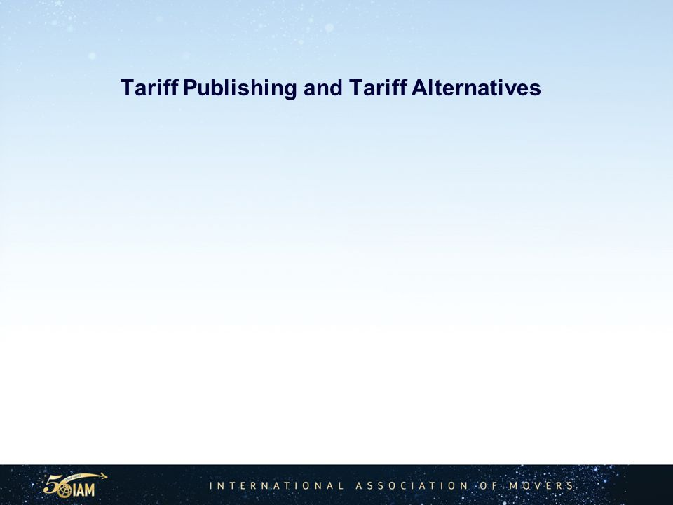 Tariff Publishing and Tariff Alternatives
