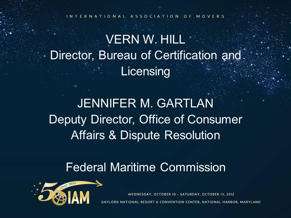 VERN W. HILL Director, Bureau of Certification and Licensing JENNIFER M.