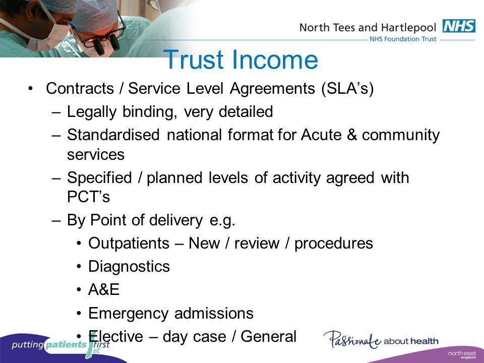 Trust Income Contracts / Service Level Agreements (SLAs) –Legally binding, very detailed –Standardised national format for Acute & community services