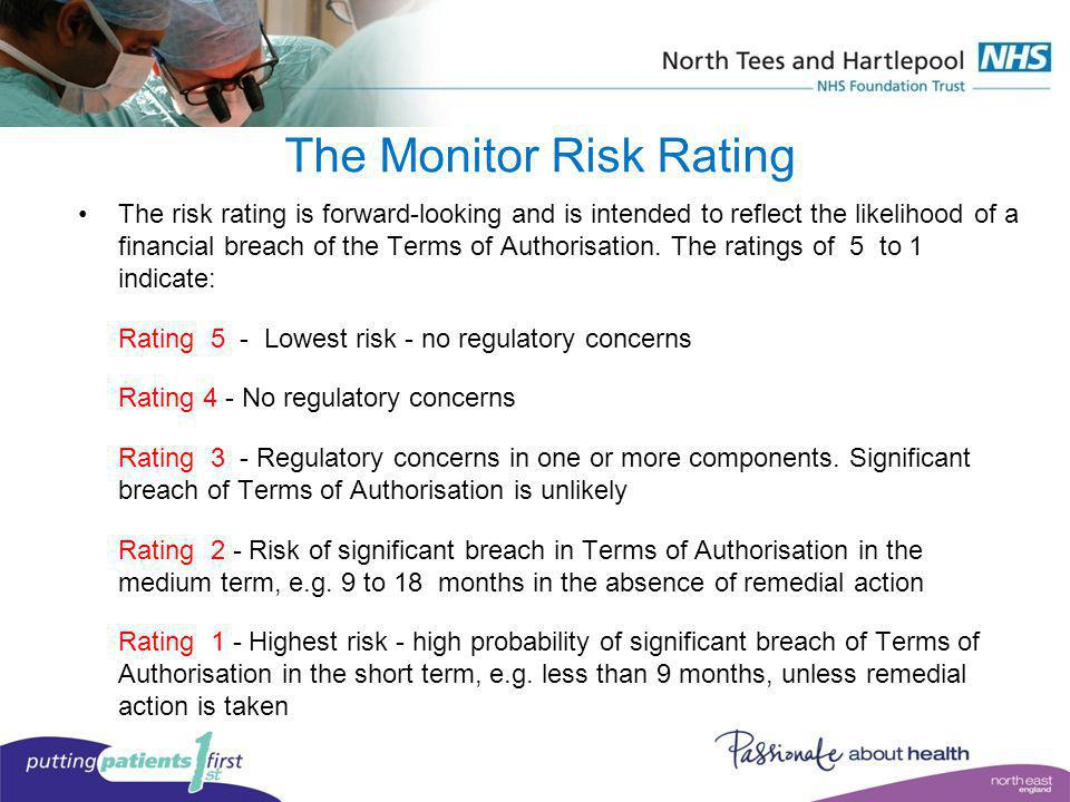 The Monitor Risk Rating The risk rating is forward-looking and is intended to reflect the likelihood of a financial breach of the Terms of Authorisati