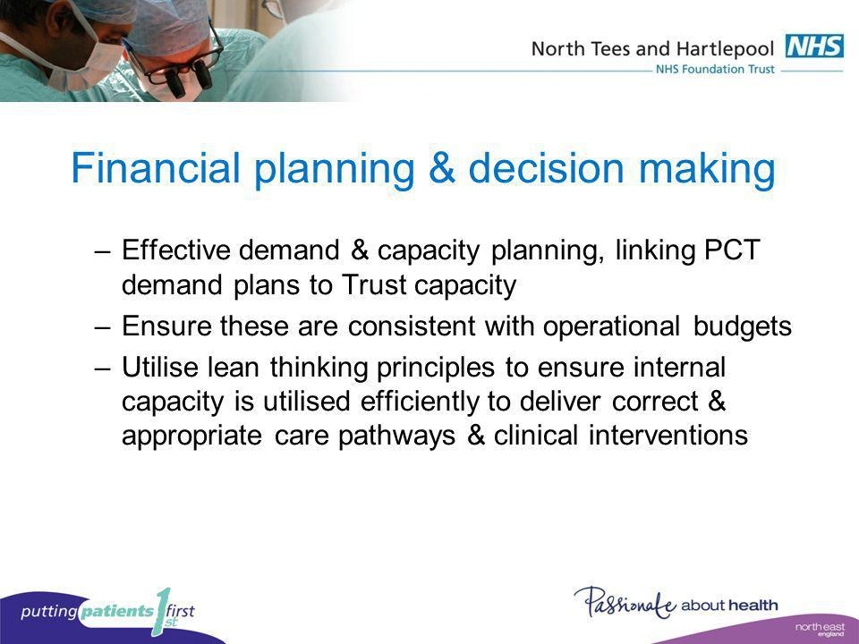 Financial planning & decision making –Effective demand & capacity planning, linking PCT demand plans to Trust capacity –Ensure these are consistent wi