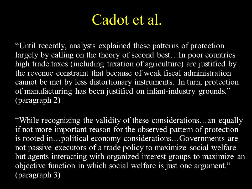 Cadot et al.s results (part 2)… With greater weight on consumers, there is less protection.