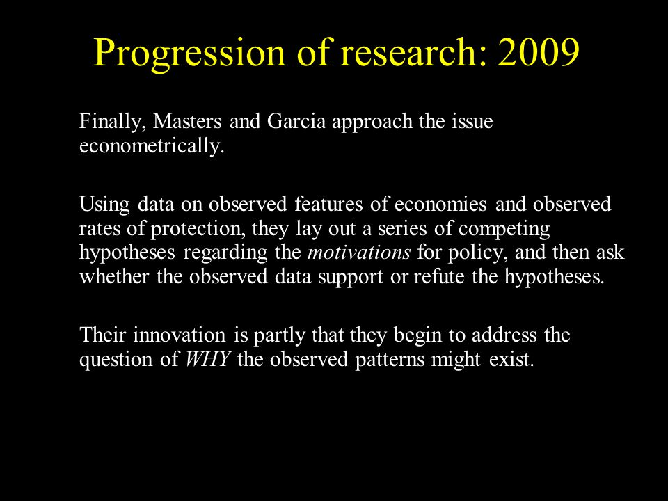 Finally, Masters and Garcia approach the issue econometrically.