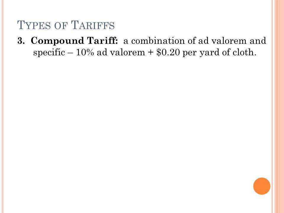 T YPES OF T ARIFFS 3.