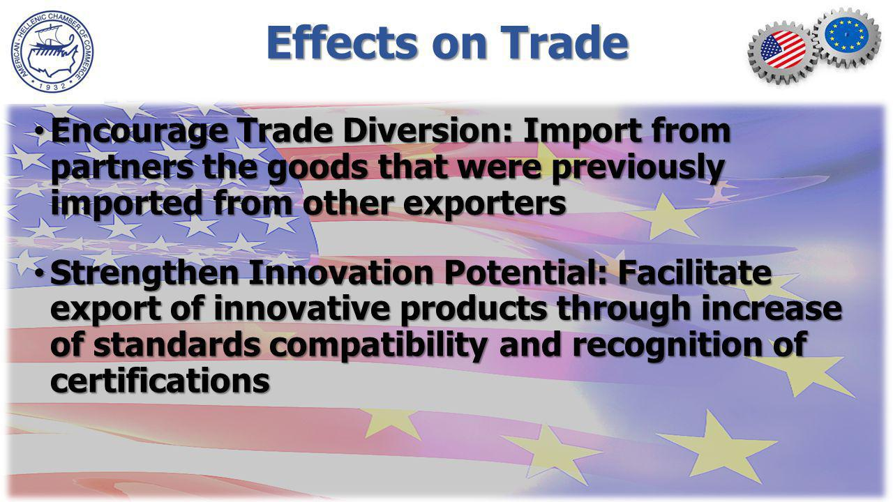 Effects on Trade Encourage Trade Diversion: Import from partners the goods that were previously imported from other exporters Encourage Trade Diversion: Import from partners the goods that were previously imported from other exporters Strengthen Innovation Potential: Facilitate export of innovative products through increase of standards compatibility and recognition of certifications Strengthen Innovation Potential: Facilitate export of innovative products through increase of standards compatibility and recognition of certifications