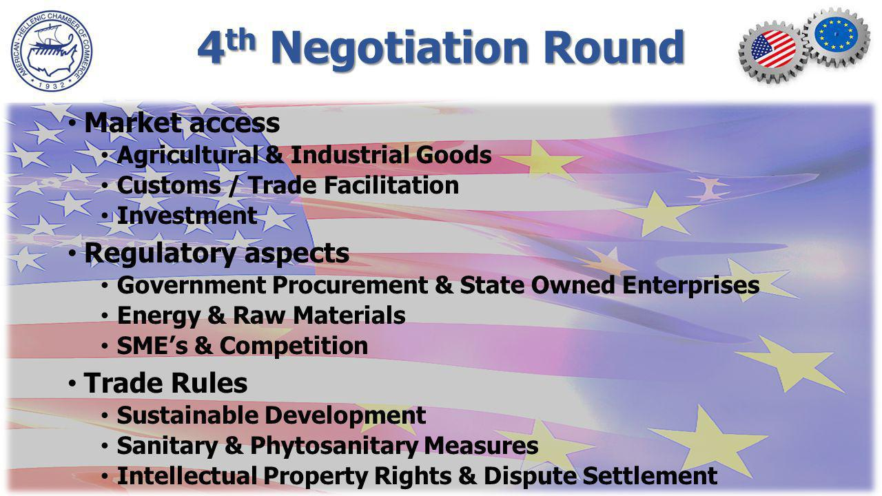 4 th Negotiation Round Market access Agricultural & Industrial Goods Customs / Trade Facilitation Investment Regulatory aspects Government Procurement & State Owned Enterprises Energy & Raw Materials SMEs & Competition Trade Rules Sustainable Development Sanitary & Phytosanitary Measures Intellectual Property Rights & Dispute Settlement