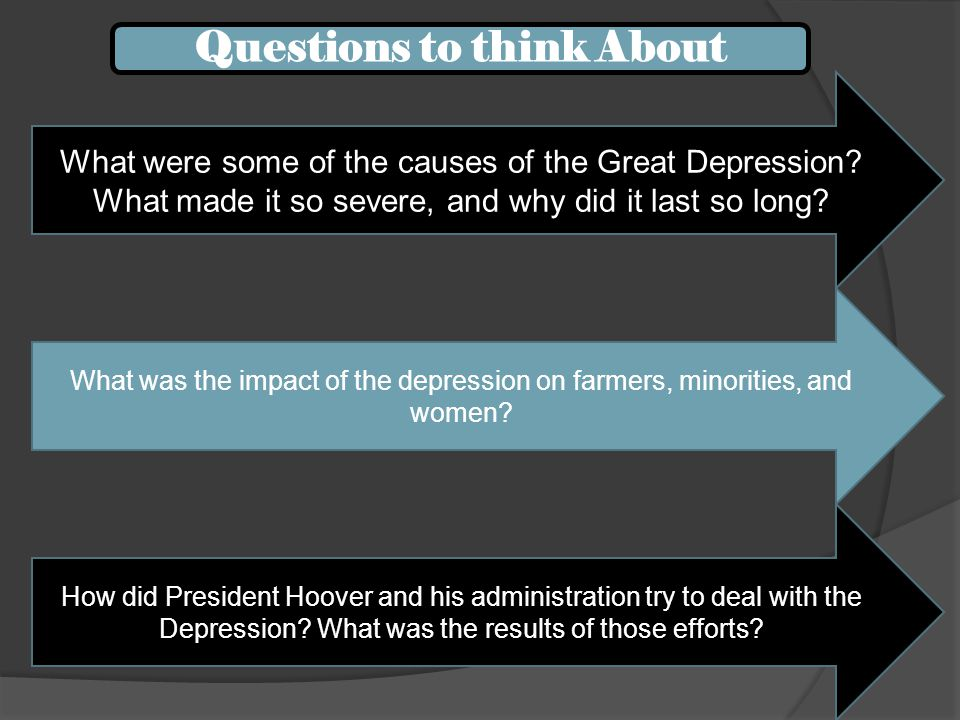 What were some of the causes of the Great Depression? What made it so severe, and why did it last so long? What was the impact of the depression on fa