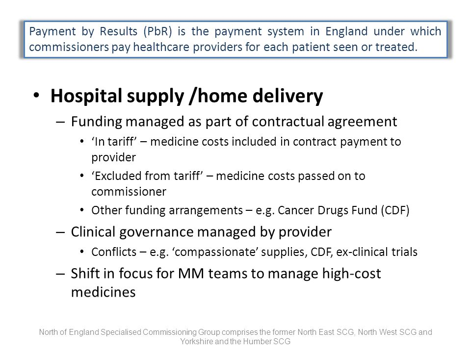 Hospital supply /home delivery – Funding managed as part of contractual agreement In tariff – medicine costs included in contract payment to provider Excluded from tariff – medicine costs passed on to commissioner Other funding arrangements – e.g.