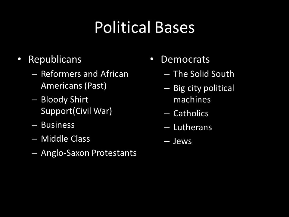 Political Bases Republicans – Reformers and African Americans (Past) – Bloody Shirt Support(Civil War) – Business – Middle Class – Anglo-Saxon Protestants Democrats – The Solid South – Big city political machines – Catholics – Lutherans – Jews
