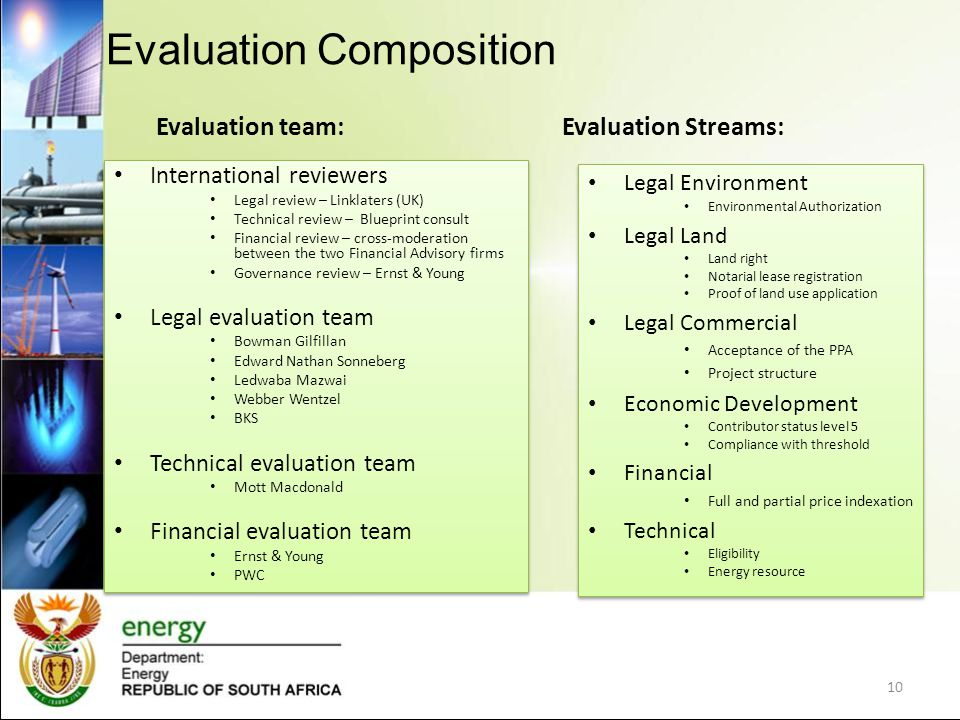 Evaluation team: International reviewers Legal review – Linklaters (UK) Technical review – Blueprint consult Financial review – cross-moderation between the two Financial Advisory firms Governance review – Ernst & Young Legal evaluation team Bowman Gilfillan Edward Nathan Sonneberg Ledwaba Mazwai Webber Wentzel BKS Technical evaluation team Mott Macdonald Financial evaluation team Ernst & Young PWC International reviewers Legal review – Linklaters (UK) Technical review – Blueprint consult Financial review – cross-moderation between the two Financial Advisory firms Governance review – Ernst & Young Legal evaluation team Bowman Gilfillan Edward Nathan Sonneberg Ledwaba Mazwai Webber Wentzel BKS Technical evaluation team Mott Macdonald Financial evaluation team Ernst & Young PWC Evaluation Streams: Legal Environment Environmental Authorization Legal Land Land right Notarial lease registration Proof of land use application Legal Commercial Acceptance of the PPA Project structure Economic Development Contributor status level 5 Compliance with threshold Financial Full and partial price indexation Technical Eligibility Energy resource Legal Environment Environmental Authorization Legal Land Land right Notarial lease registration Proof of land use application Legal Commercial Acceptance of the PPA Project structure Economic Development Contributor status level 5 Compliance with threshold Financial Full and partial price indexation Technical Eligibility Energy resource Evaluation Composition 10
