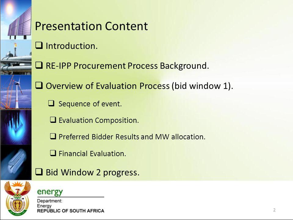 Presentation Content Introduction. RE-IPP Procurement Process Background.