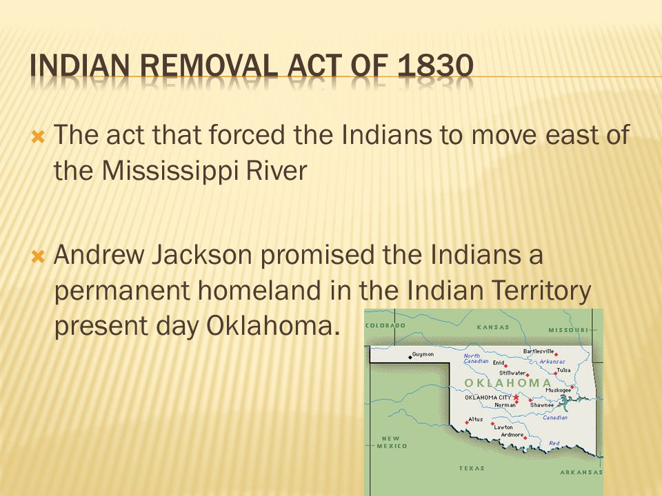 The act that forced the Indians to move east of the Mississippi River Andrew Jackson promised the Indians a permanent homeland in the Indian Territory present day Oklahoma.