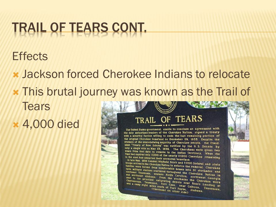 Effects Jackson forced Cherokee Indians to relocate This brutal journey was known as the Trail of Tears 4,000 died