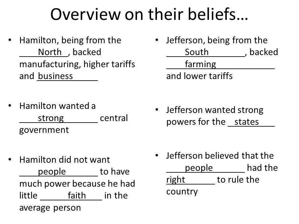 Overview on their beliefs… Hamilton, being from the North, backed manufacturing, higher tariffs and business Hamilton wanted a strong central government Hamilton did not want people to have much power because he had little faith in the average person Jefferson, being from the South, backed farming and lower tariffs Jefferson wanted strong powers for the states Jefferson believed that the people had the right to rule the country