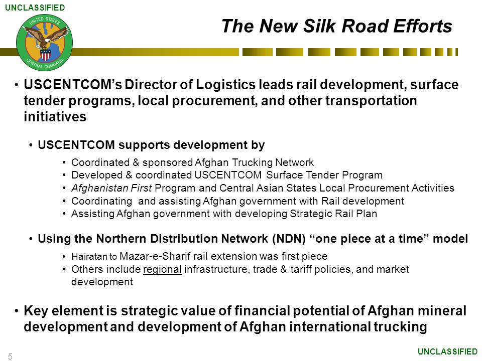 6 The Strategic Value of Trade & Transit Trade & transit development is an economic enabler, building free & stable countries Improves employment rate Raises quality of life through increased economic activity Can potentially improve regional governments cooperation with each other Enables export of Afghan goods Reduces need for foreign aid Can reduce insurgent problems Truck transportation will have immediate impact on Afghan economy.
