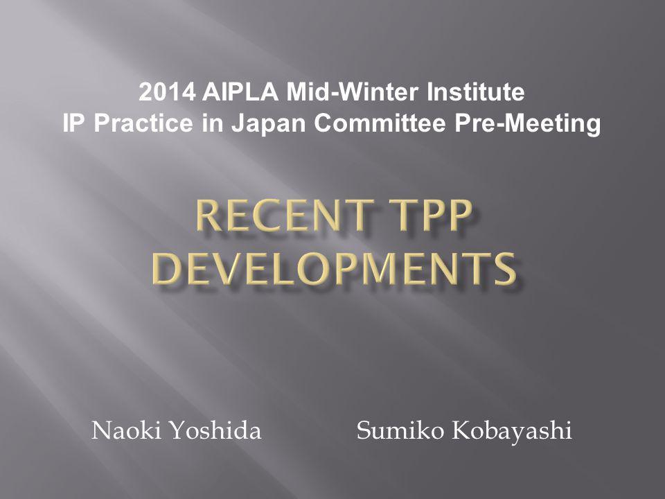 Naoki Yoshida Sumiko Kobayashi 2014 AIPLA Mid-Winter Institute IP Practice in Japan Committee Pre-Meeting