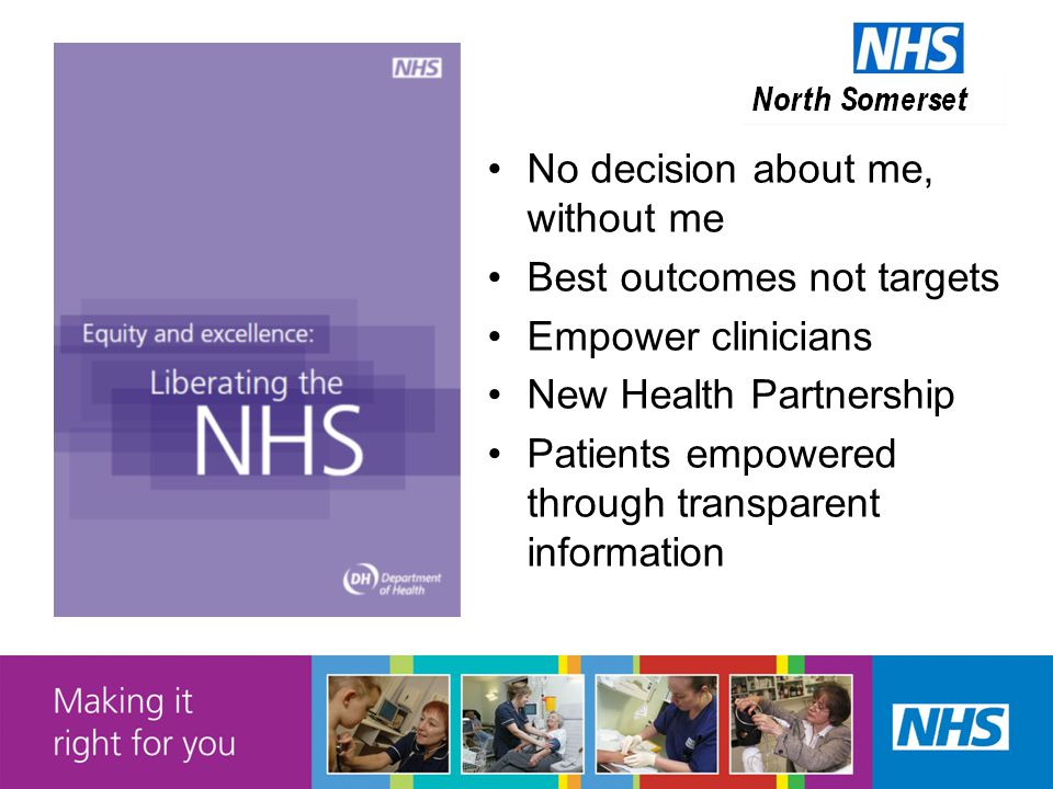 No decision about me, without me Best outcomes not targets Empower clinicians New Health Partnership Patients empowered through transparent information