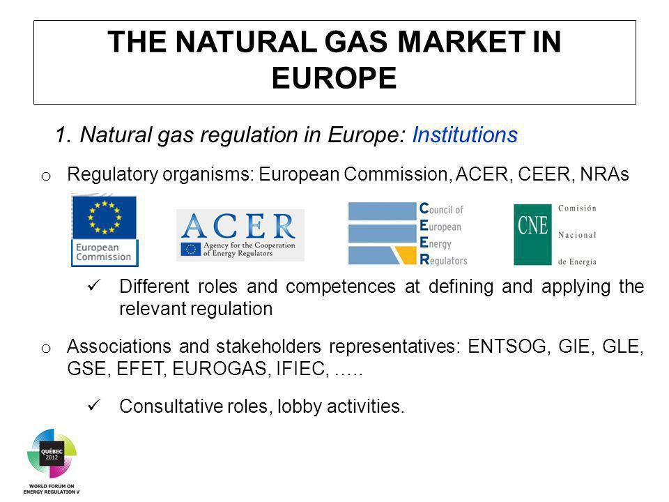 THE NATURAL GAS MARKET IN EUROPE 1.Natural gas regulation in Europe: Institutions o Regulatory organisms: European Commission, ACER, CEER, NRAs Different roles and competences at defining and applying the relevant regulation o Associations and stakeholders representatives: ENTSOG, GIE, GLE, GSE, EFET, EUROGAS, IFIEC, …..