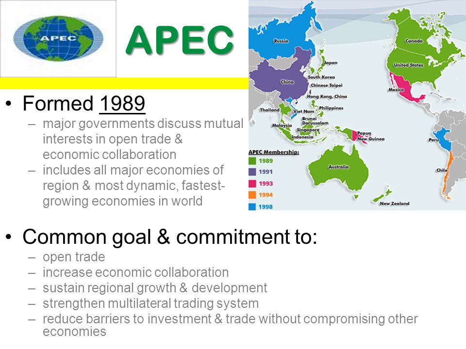 APEC APEC Formed 1989 –major governments discuss mutual interests in open trade & economic collaboration –includes all major economies of region & mos