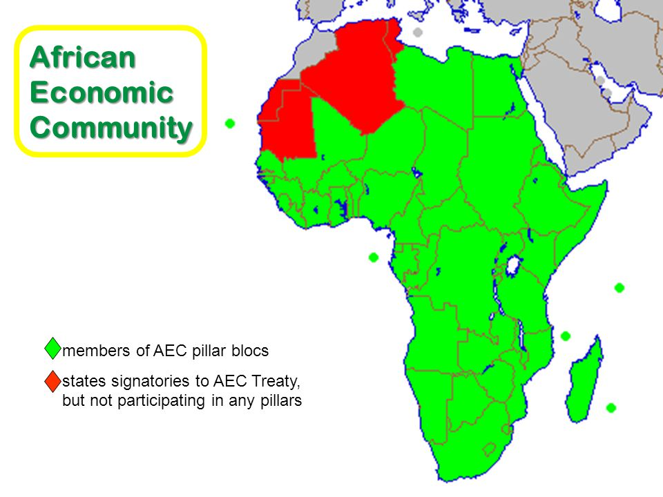 This article is part of African Economic Community members of AEC pillar blocs states signatories to AEC Treaty, but not participating in any pillars