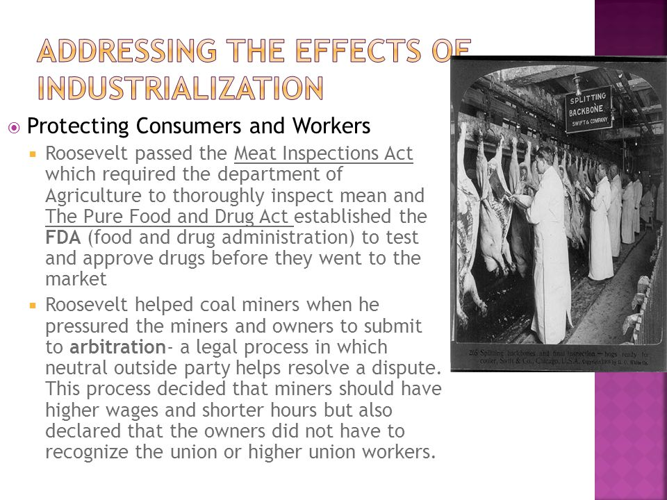 Protecting Consumers and Workers Roosevelt passed the Meat Inspections Act which required the department of Agriculture to thoroughly inspect mean and
