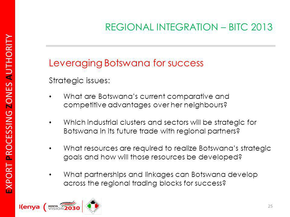 E XPORT P ROCESSING Z ONES A UTHORITY Leveraging Botswana for success Strategic issues: What are Botswanas current comparative and competitive advantages over her neighbours.