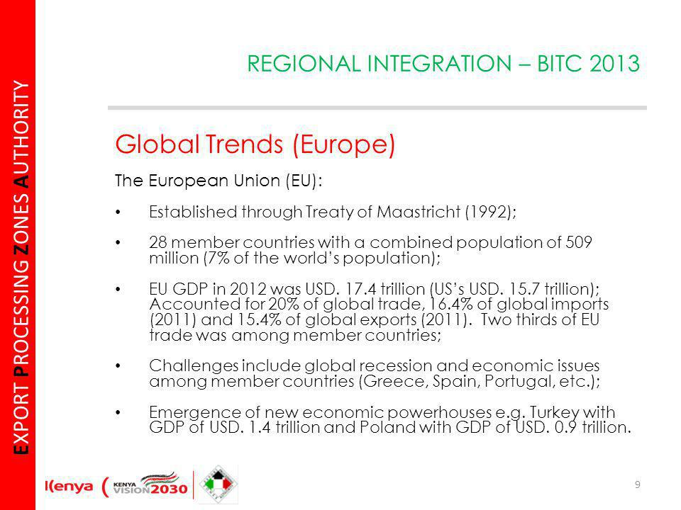 E XPORT P ROCESSING Z ONES A UTHORITY Global Trends (Europe) The European Union (EU): Established through Treaty of Maastricht (1992); 28 member countries with a combined population of 509 million (7% of the worlds population); EU GDP in 2012 was USD.
