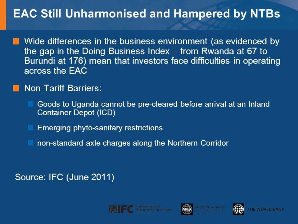 EAC Still Unharmonised and Hampered by NTBs Wide differences in the business environment (as evidenced by the gap in the Doing Business Index – from Rwanda at 67 to Burundi at 176) mean that investors face difficulties in operating across the EAC Non-Tariff Barriers: Goods to Uganda cannot be pre-cleared before arrival at an Inland Container Depot (ICD) Emerging phyto-sanitary restrictions non-standard axle charges along the Northern Corridor Source: IFC (June 2011)