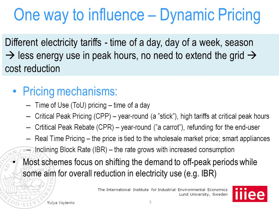 The International Institute for Industrial Environmental Economics Lund University, Sweden Dynamic pricing package A pricing mechanism A supportive technology A feedback 4 Yuliya Voytenko The more elements are used in each category, the higher is the user response But this is not the most cost-efficient A CORRECT MIX is crucial