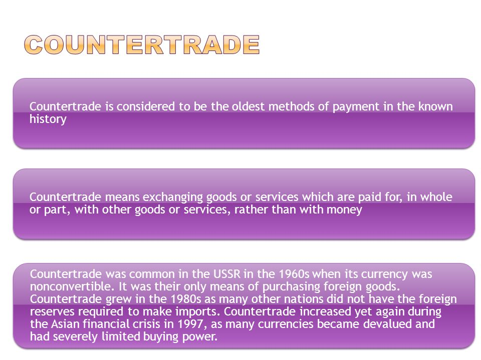 It means using a specialized third-party trading house in a counter trade agreement.