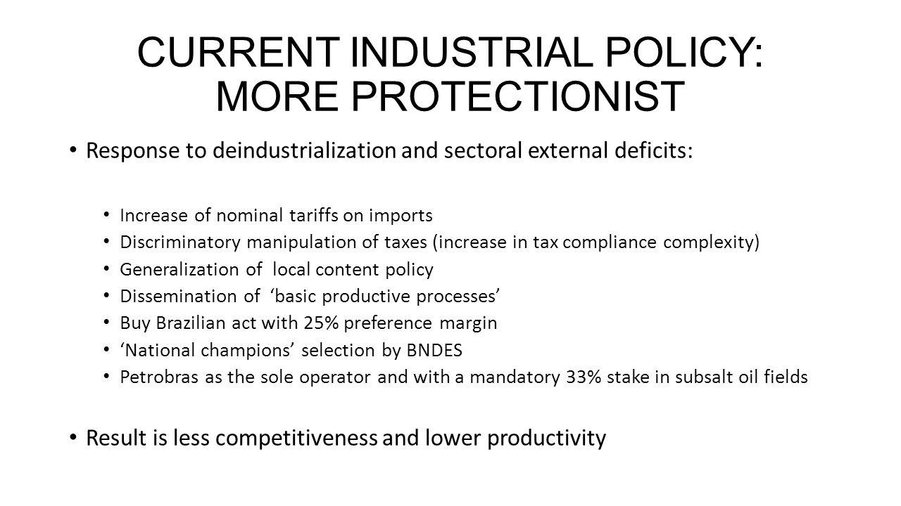 ALTERNATIVE INDUSTRIAL POLICY: INTEGRATION INTO INTERNATIONAL PRODUCTIVE CHAINS THREE PILLARS 1.