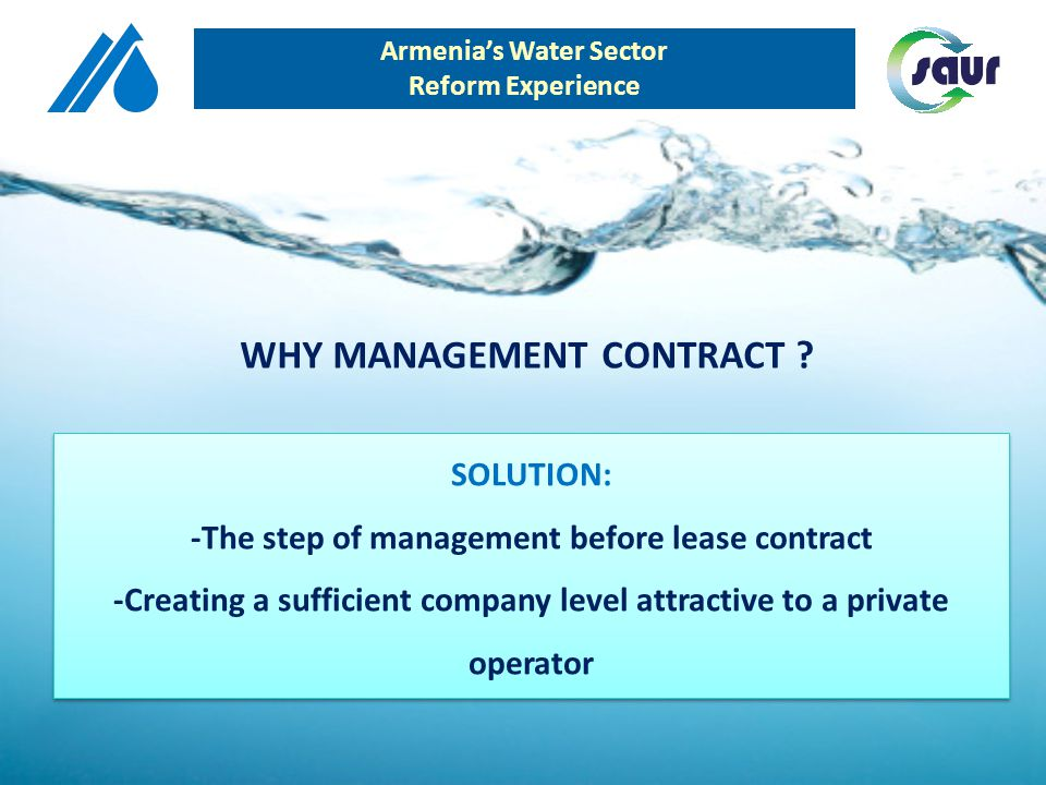 SOLUTION: -The step of management before lease contract -Creating a sufficient company level attractive to a private operator SOLUTION: -The step of m