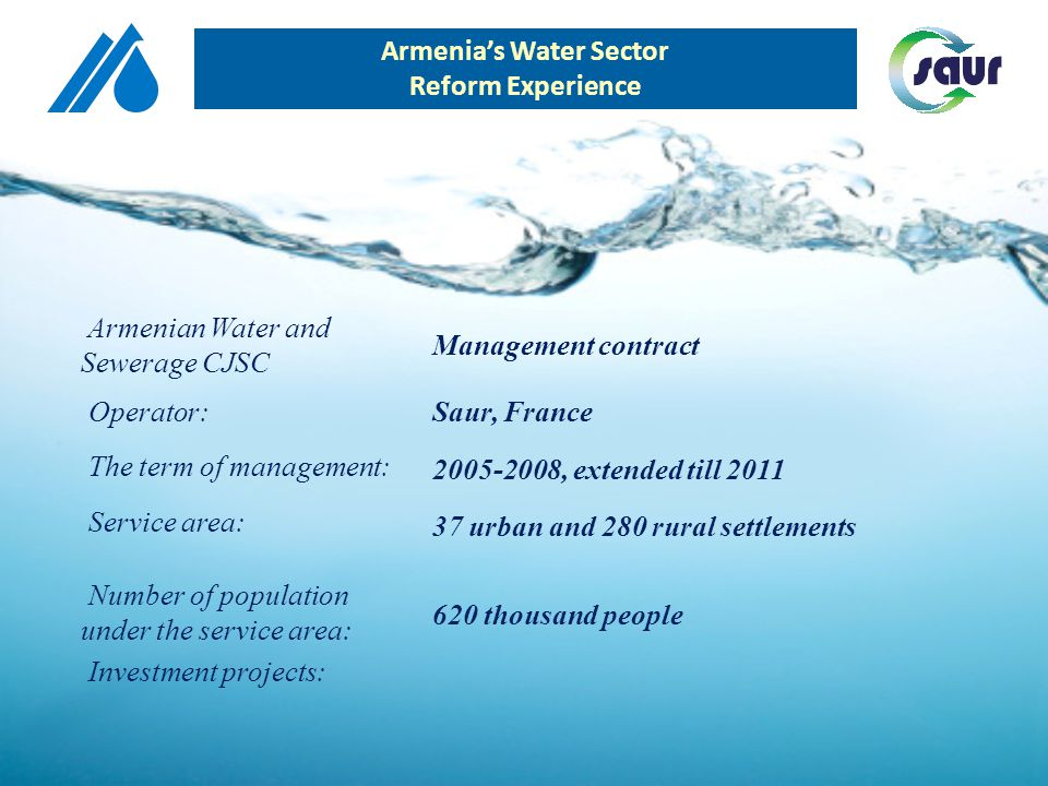 Armenias Water Sector Reform Experience LEASE CONTRACT (How to choose the leaser?) -tender -direct negotiation FUTURE PLAN