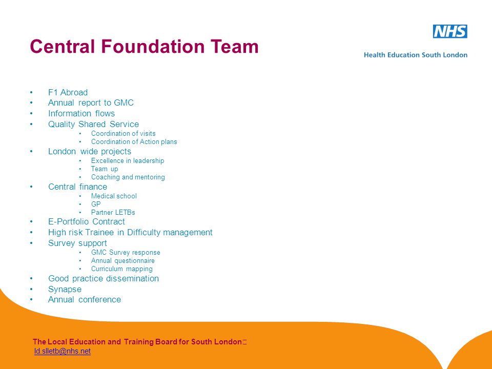 The Local Education and Training Board for South London ld.slletb@nhs.netld.slletb@nhs.net F1 Abroad Annual report to GMC Information flows Quality Shared Service Coordination of visits Coordination of Action plans London wide projects Excellence in leadership Team up Coaching and mentoring Central finance Medical school GP Partner LETBs E-Portfolio Contract High risk Trainee in Difficulty management Survey support GMC Survey response Annual questionnaire Curriculum mapping Good practice dissemination Synapse Annual conference Central Foundation Team