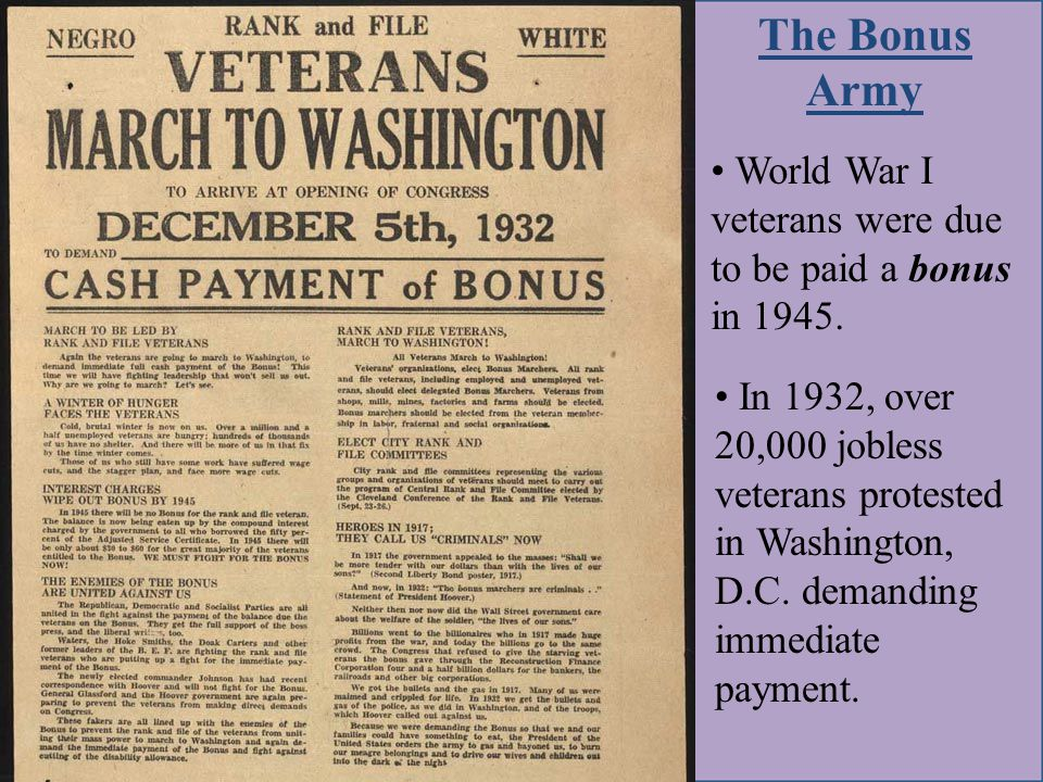 In 1932, over 20,000 jobless veterans protested in Washington, D.C.