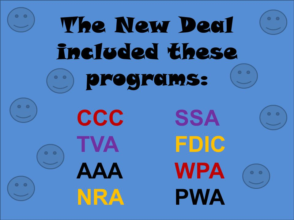 The New Deal included these programs: SSA FDIC WPA PWA CCC TVA AAA NRA