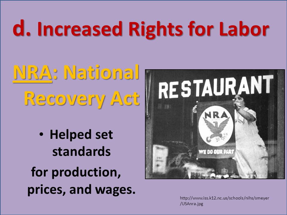 d. Increased Rights for Labor NRA: National Recovery Act Helped set standards for production, prices, and wages. http://www.iss.k12.nc.us/schools/nihs