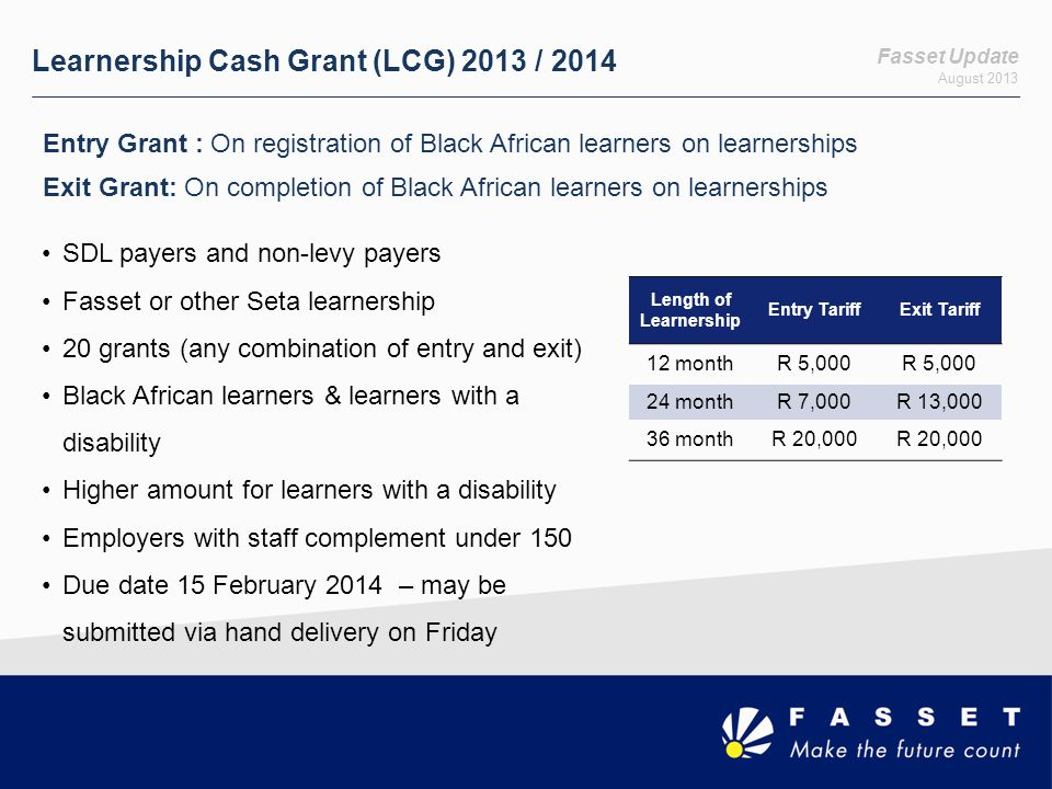 Fasset Update August 2013 NSFAS Loan Repayment Grant (NLRG) Ensuring retention of learners on learnerships 3 year learnership attracts R 60,000 grant towards NSFAS account Transformation in the sector: Black African learners and people with disabilities Learners currently commencing, undergoing, or completing a learnership in the 2013 calendar year with a Fasset employer Employed learner or an employer representative may apply Black African learners will be relieved of the NSFAS financial burden Salary threshold applies May be applied for in tranches Due date 15 February 2014 – may be submitted via hand delivery on Friday