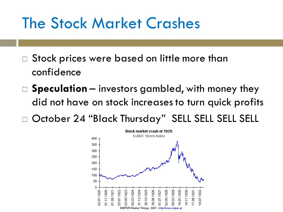 The Stock Market Crashes Stock prices were based on little more than confidence Speculation – investors gambled, with money they did not have on stock increases to turn quick profits October 24 Black Thursday SELL SELL SELL SELL