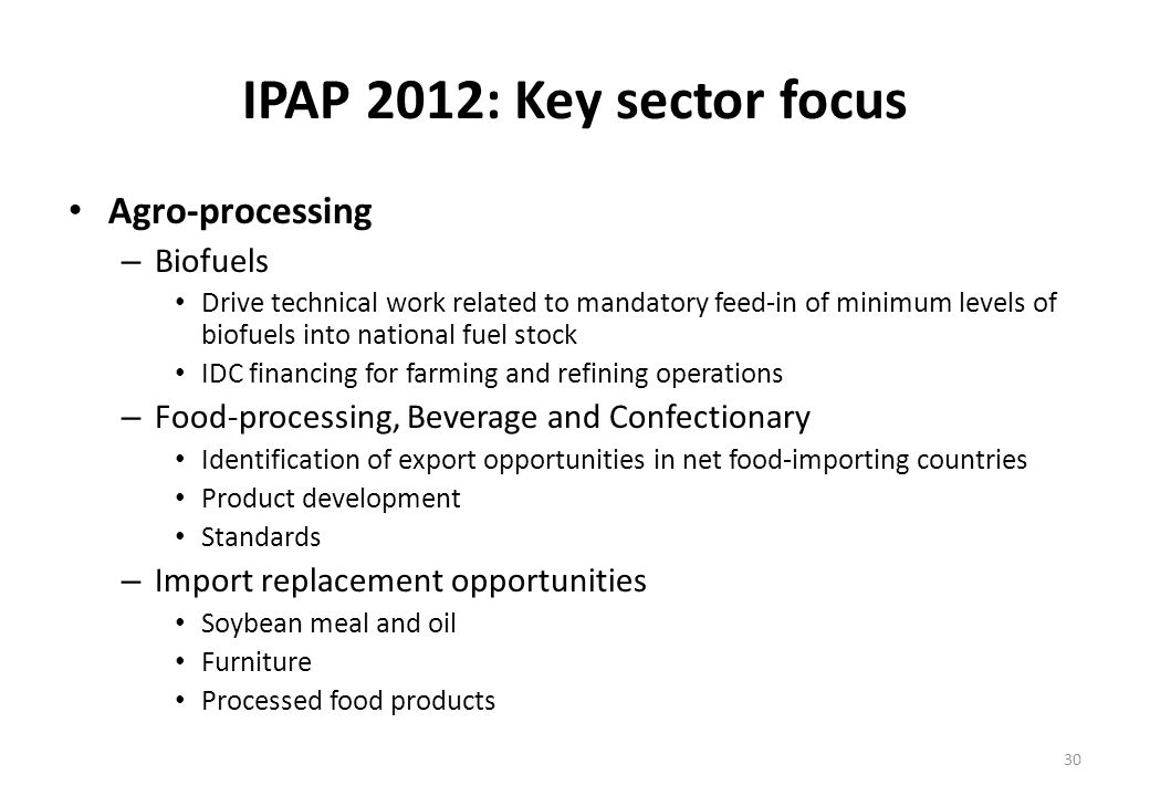 IPAP 2012: Key sector focus Agro-processing – Biofuels Drive technical work related to mandatory feed-in of minimum levels of biofuels into national fuel stock IDC financing for farming and refining operations – Food-processing, Beverage and Confectionary Identification of export opportunities in net food-importing countries Product development Standards – Import replacement opportunities Soybean meal and oil Furniture Processed food products 30