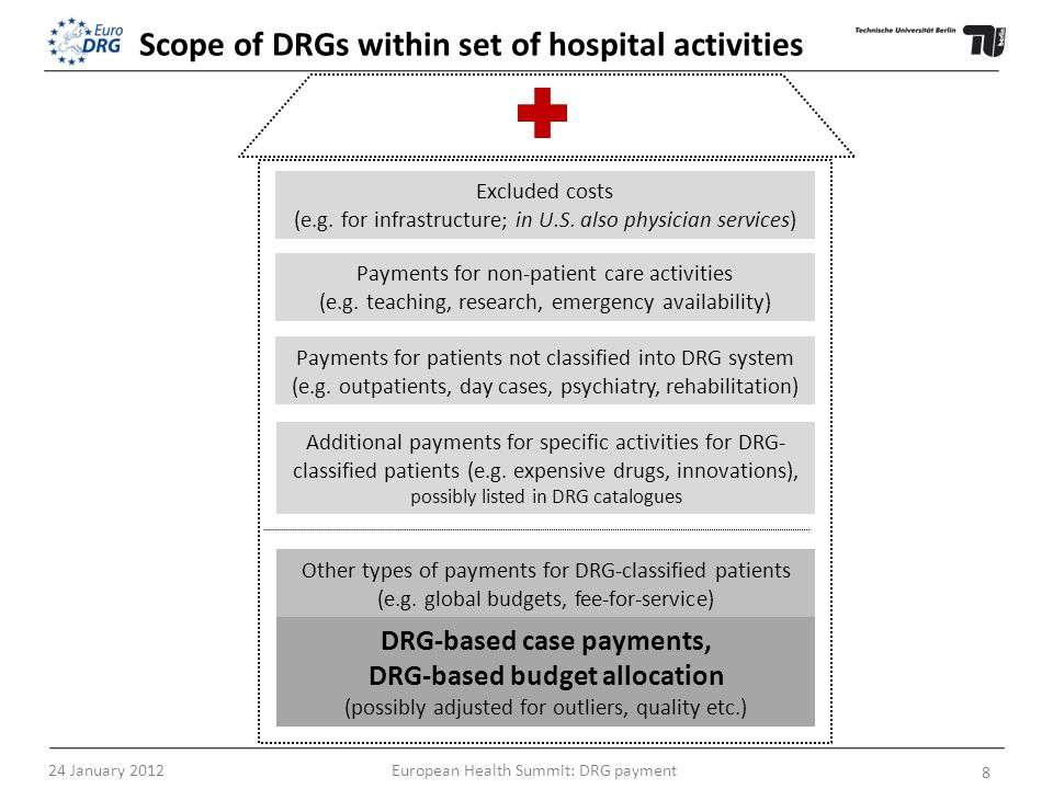 DRG-based case payments, DRG-based budget allocation (possibly adjusted for outliers, quality etc.) Excluded costs (e.g.