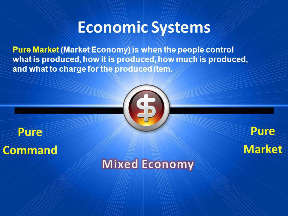 Economic Systems Pure Market Pure Command Pure Market (Market Economy) is when the people control what is produced, how it is produced, how much is pr