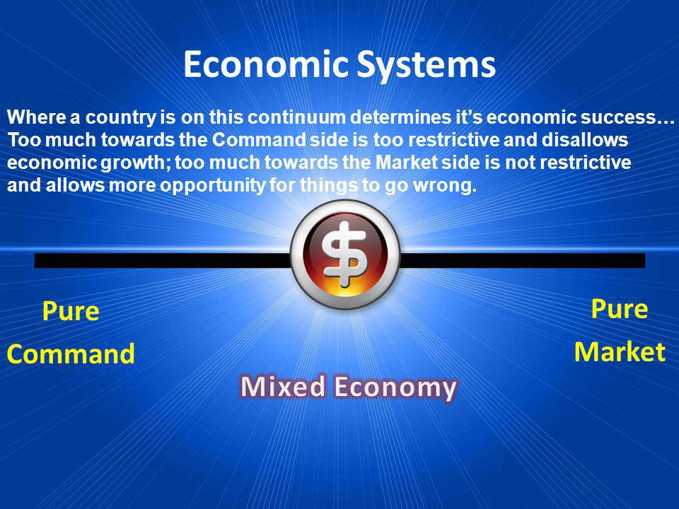 Economic Systems Pure Market Pure Command Where a country is on this continuum determines its economic success… Too much towards the Command side is t