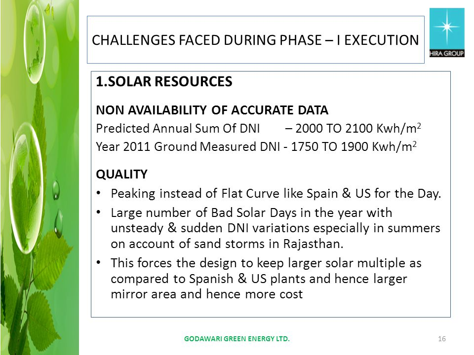 1.SOLAR RESOURCES NON AVAILABILITY OF ACCURATE DATA Predicted Annual Sum Of DNI– 2000 TO 2100 Kwh/m 2 Year 2011 Ground Measured DNI - 1750 TO 1900 Kwh