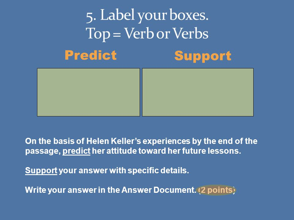 Predict Support On the basis of Helen Kellers experiences by the end of the passage, predict her attitude toward her future lessons.