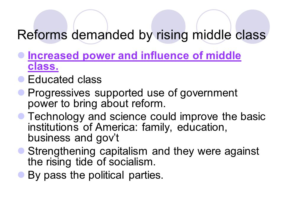 Reforms demanded by rising middle class Increased power and influence of middle class. Educated class Progressives supported use of government power t