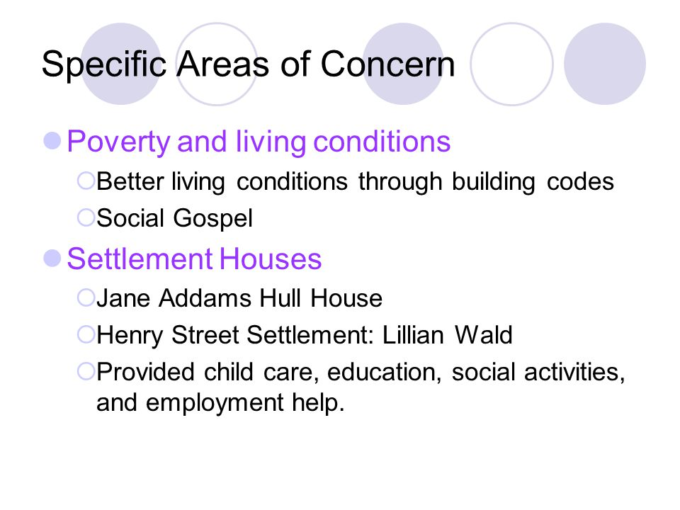 Specific Areas of Concern Poverty and living conditions Better living conditions through building codes Social Gospel Settlement Houses Jane Addams Hu