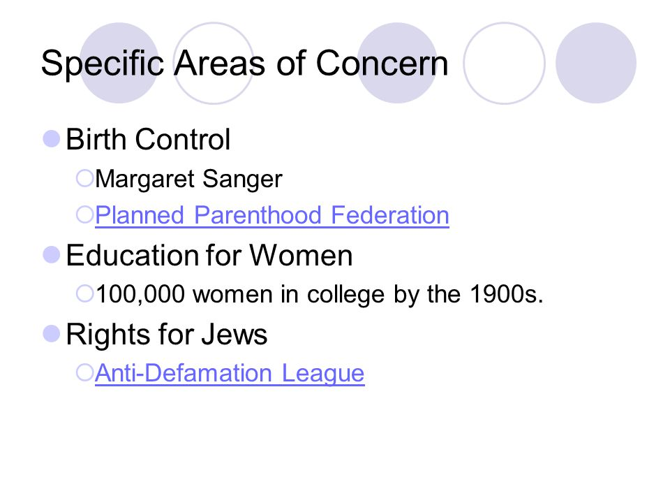 Specific Areas of Concern Birth Control Margaret Sanger Planned Parenthood Federation Education for Women 100,000 women in college by the 1900s. Right