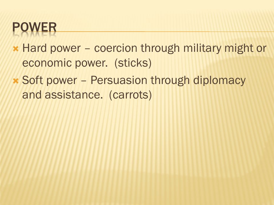 Hard power – coercion through military might or economic power.
